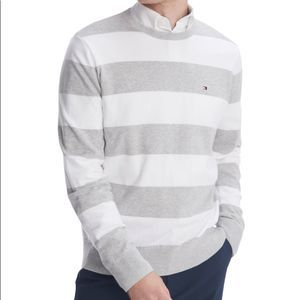 Tommy Hilfiger Striped Cotton Rugby Sweater NEW